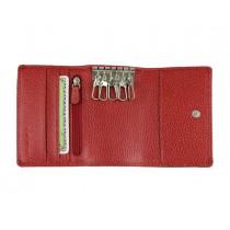 Portachiavi e carte 11x7,5cm vera pelle rosso Laurige France