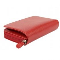 Portafogli c-zip 13x10cm vera pelle rosso Laurige France