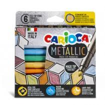 Scatola 6 Maxi Metallic pennarelli colori assortiti Carioca