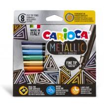 Scatola 8 Metallic pennarelli punta fine colori assortiti Carioca