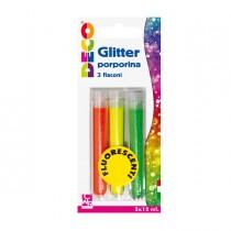 Blister glitter 3 flaconi grana fine 12ml colori assortiti fluo DECO