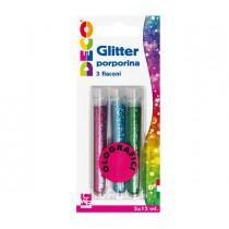 Blister glitter 3 flaconi grana fine 12ml colori assortiti olografici DECO
