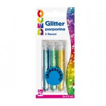 Blister glitter 3 flaconi grana fine 12ml colori assortiti iridescenti DECO