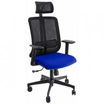 Poltrona ergonomica Vertigo Nero-Blu No FLAME con poggiatesta e braccioli