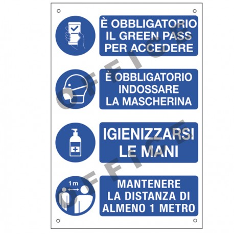 """Cartello alluminio 20X30cm """"E' OBBLIGATORIO IL GREEN PASS"""""""