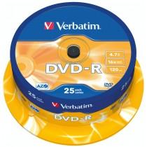 DVD-R 4,7 GB 16x120 MIN. CAMPANA 25 PZ.