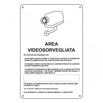 CARTELLO ALLUMINIO 20x30cm 'AREA VIDEOSORVEGLIATA CON REGISTRAZIONE'