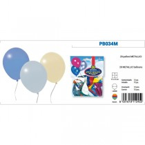 BUSTA 20 PALLONCINI METAL COLORI ASSORTITI PEGASO