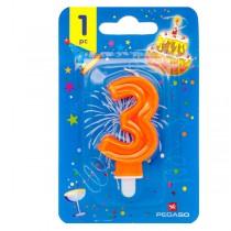 Blister candelina n°3 arancio fluo 7cm Pegaso