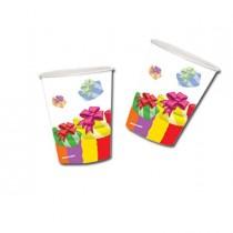 10 bicchieri in carta 200cc Buon Compleanno colori assortiti Pegaso