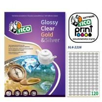 Etichetta adesiva SL4 ovale argento satinata 100fg A4 22x16mm (120et-fg) Tico