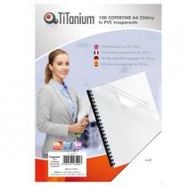 100 COPERTINE A4 PVC TRASPARENTE 250my TiTanium