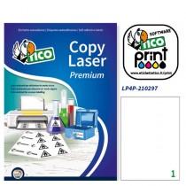 Poliestere adesivo LP4P bianco 70fg A4 210x297mm (1et-fg) laser Tico