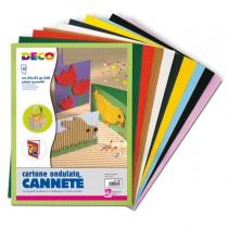 SET 10FG CARTONCINO ONDULATO 25X35CM CANNETE' colori assortiti DECO