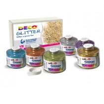 SET 6 BARATTOLI GLITTER GRANA FINE ML150 colori assortiti ART 05404 DECO