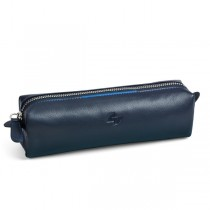 Bustina c-cerniera in vera pelle 18x6x5cm blu Niji