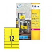 Poliestere adesivo L6107 giallo fluo 20fg A4 99,1x42,3mm (12et-fg) laser Avery