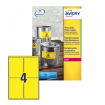 Poliestere adesivo L6127 giallo fluo 20fg A4 99,1x139mm (4et-fg) laser Avery