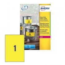 Poliestere adesivo L6111 giallo fluo 20fg A4 210x297mm (1et-fg) laser Avery