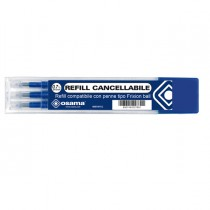 Set 3 refill inchiostro gel RiSCRIVI cancellabile 0,7mm blu OSAMA