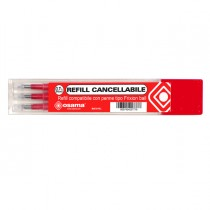 Set 3 refill inchiostro gel RiSCRIVI cancellabile 0,7mm rosso OSAMA