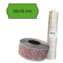 PACK 10 ROTOLI 1000 ETICH. 26x16mm ONDA VERDE PERM. Printex