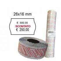 "PACK 10 ROTOLI 1000 ETICH. 26x16mm ONDA ""scontato"" BIANCO PERM. Printex"