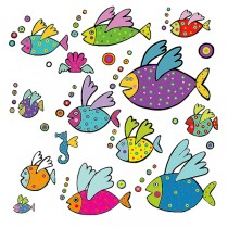 ADESIVI MURALI REMOVIBILI - FLYING FISHES - SIZE XL WALLSKIN