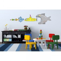 ADESIVI MURALI REMOVIBILI - BIG FISH EAT Y SUBMARINE - SIZE XL 68x98 WALLSKIN