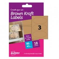 Etichetta adesiva HBK03 in kraft ovali 6fg A6 41x89mm (3et-fg) inkjet Avery