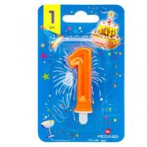 Blister candelina n°1 arancio fluo 7cm Pegaso