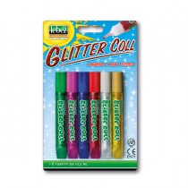 BUSTA 6 TUBI COLLA GLITTER ASSORTITO 10,5ML LAVABILE NON-TOSSICA LEBEZ