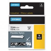 NASTRO NYLON FLESSIBILE 19mm x 3.5mt nero su bianco 18489 RHINO