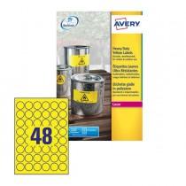 Poliestere adesivo L6128 giallo fluo 20fg A4 Ø30mm (48et-fg) laser Avery